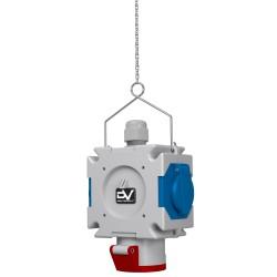 Energiewürfel Stromverteiler mDV 1x16A/5P 2x230V mit 1,5m Verzinktkette Verteiler Kreuzverteiler 2695