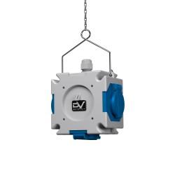 Energiewürfel Stromverteiler mDV 3x230V mit 1,5m Verzinktkette Kreuzverteiler 2688