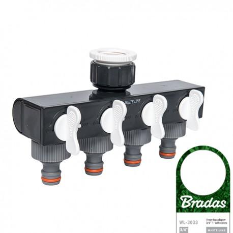 regelbarer 4-Wege-Verteiler Schlauchverteiler Wasserverteiler für Gartenschlauch