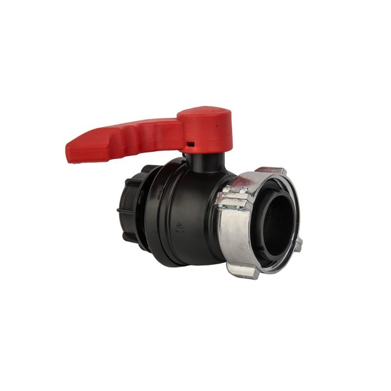 Kugelhahn IBC IG S75x6 mit Auslauf AG S60x6 Bradas 6355