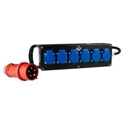 Stromverteiler Vollgummi 16A/400V auf 6x230V