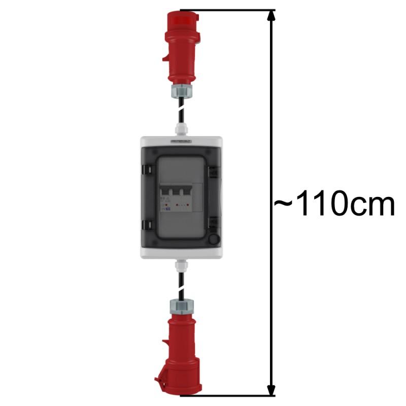 CEE Adapter//32A Stecker auf 32A Kupplung mit Sicherung C32 und FI-Schutzschalter