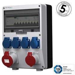Baustromverteiler 32A 16A 4x230V pTD-S/FI mit SIEMENS und MENNEKES Doktorvolt 4869