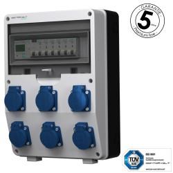 Baustromverteiler 6x230V pTD-S/FI mit 1F Stromzähler SIEMENS und MENNEKES Doktorvolt 4821
