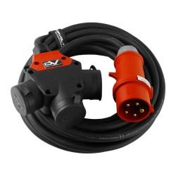 CEE Verlängerungskabel 10m mit 3Wege SCHUKO Kupplung 3x230V Kabel 5x1,5mm2