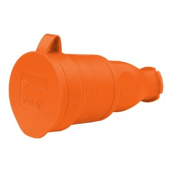 Gummikupplung 16A 230V 2P+E Steckdose Kupplung orange 8256