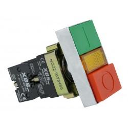 XBS Doppel Knopf Leuchtdrucktaster Drucktaster Schalter 0-1 rote grüne Knopf NG22-BW8465