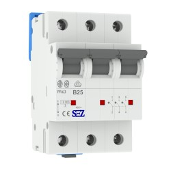 SEZ Leitungsschutzschalter B 25A 3p 10kA VDE B25A Sicherungsautomat Sicherung 0616