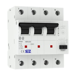 SEZ Fi-Schalter 40A 30mA 4p 10kA RCCB Fehlerstromschutzschalter FI-Schutzschalter PFB4