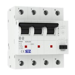 SEZ Fi-Schalter 63A 30mA 4p 10kA RCCB Fehlerstromschutzschalter FI-Schutzschalter PFB4 5449