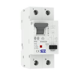 SEZ FI/LS RCBO B 16A 30mA 2p 10kA PFI2 VDE B16A Leitungsschutzschalter Fi-Schalter Kombi 0219