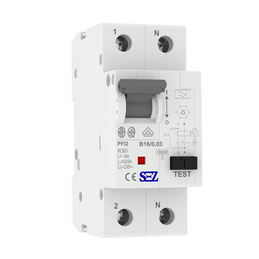 SEZ B16A RCBO 30mA 2p 10kA FI/LS-Schalter Kombi Schalter preis-zone