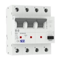 SEZ FI/LS RCBO B 16A 30mA 4p 10kA PFI4 B16A Leitungsschutzschalter Fi-Schalter Kombi 9951