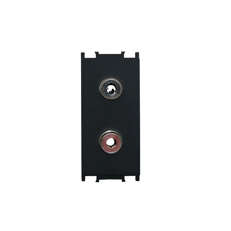 LAUTSPRECHER BOXEN ANSCHLUß Audiodose 2xRCA 1M schwarz KM22SB-B
