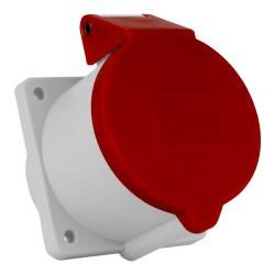 Anbausteckdose  Einbausteckdose gerade Quick-Connect 32A/5P 3P+N+PE 230/400V gerade Flansch 75x75 IP44 rot 132002 CE Bals 9248