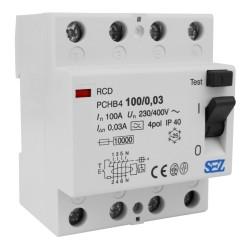 SEZ Fi-Schalter 100A 30mA 4p 10kA RCD 230V/400V Fehlerstromschutzschalter FI-Schutzschalter PChB4 0898