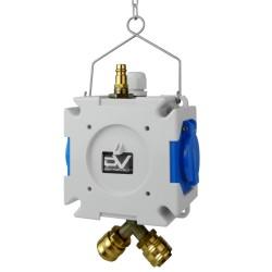 Stromverteiler mDV 2x230V/16A für Druckluft ∅8mm m.1,5m Verzinktkette Kreuzverteiler 2749