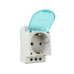 Steckdose Schuko für Hutschiene DIN TH35 16A 250V mit Klappdeckel ohne LED Schukodose Einbausteckdose 7160 ONKA 1600