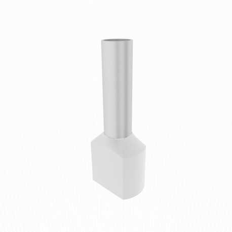 Zwillingsaderendhülsen isoliert weiß 2x0,5mm2/8mm