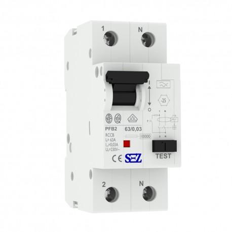 SEZ Fi-Schalter 63A 30mA 2p 10kA RCCB