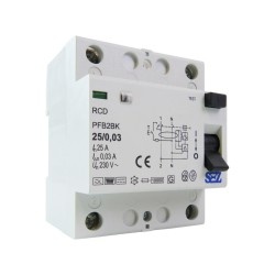 SEZ Fi-Schalter 25A 30mA 2P 10kA TYP B RCD/RCCB FI-Schutzschalter 8842