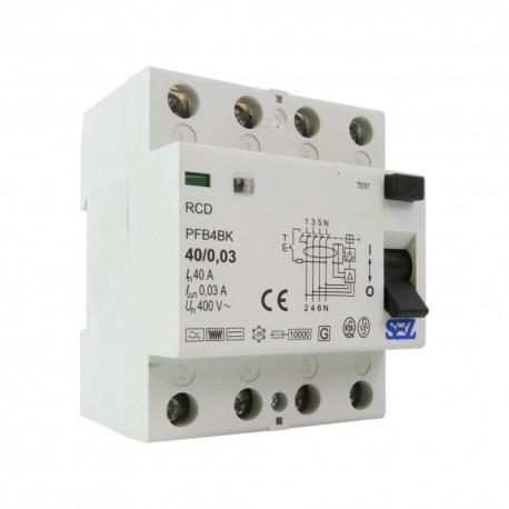 SEZ Fi-Schalter 40A 30mA 4P 10kA TYP B RCD/RCCB