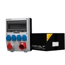 Stromverteiler TD 1x16A  4x230V mit 1x32A Einbaustecker Wandverteiler Baustromverteiler 2381