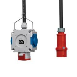 Stromverteiler mDV franz/belg System 1x16A 2x230V mit 1,5m Kabel Stecker 16A 1,5m Verzinktkette Kreuzverteiler 2725