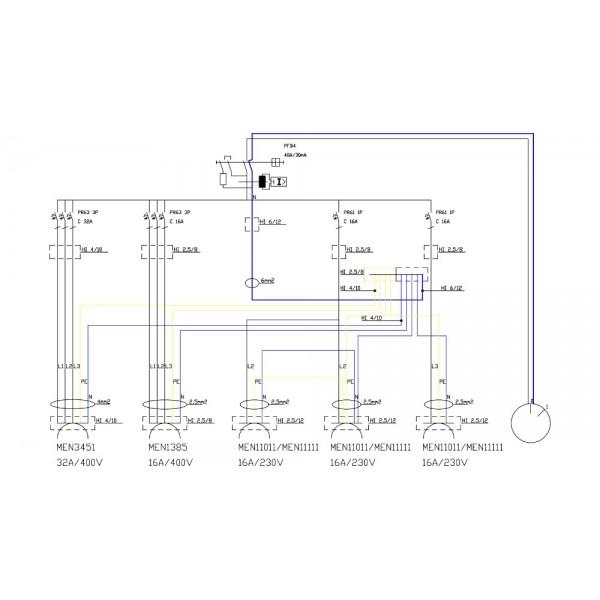 Stromverteiler TD 32A 16A 3x230V m.Nockenschalter 4P 40A 0-1 ON-OFF 2411