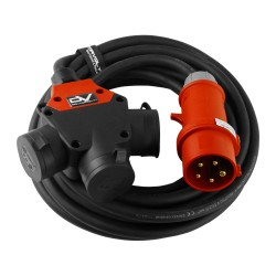 CEE Verlängerungskabel 50m 3-Wege Typ E franz/belg Norm H07RN-F 5x2,5mm Stromkabel Gummikabel 9313
