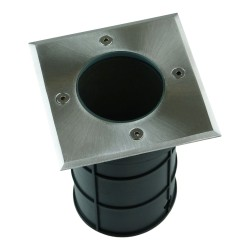 Bodeneinbaustrahler GU10 50W IP67 quadratisch chrom Bodenstrahler Bodeneinbauleuchte  Ohne Birne ALFA-K GTV 9958