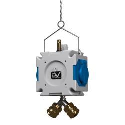 Stromverteiler mDV franz/belg System 2x230V/16A für Druckluft ∅8mm m.1,5m Verzinktkette Kreuzverteiler 2756