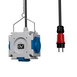 Energiewürfel Stromverteiler mDV 3x230V mit 1,5m Kabel Stecker 1,5m Verzinktkette Kreuzverteiler 2671