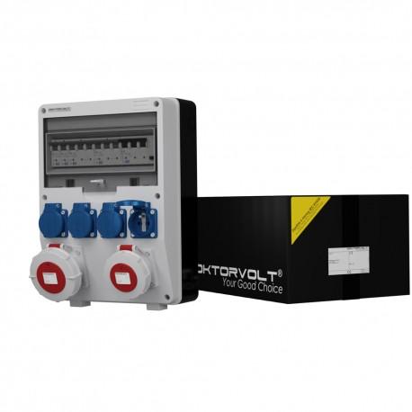Stromverteiler TD-S/FI 1x32A 1x16A 4x230V franz/belg System IP54