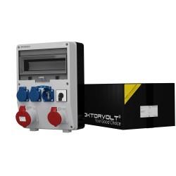 Stromverteiler TD 1x32A 1x16A 3x230V französisch/belgische System mit Nockenschalter 4P 40A 0-1 ON-OFF Baustromverteiler 2497