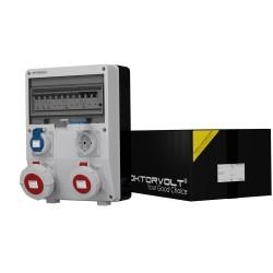 Stromverteiler TD-S/FI 1x32A 1x16A 2x230V IP65 Wandverteiler Baustromverteiler 2855