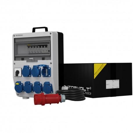 Messe Stromverteiler TD-S/FI 7x230V Nockenschalter 0-1