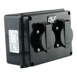 Wanddose 2x230V IP54 Schuko Stromverteiler Wandverteiler 160x120x95 mm M-L 9573