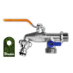 Wasserhahn 1/2' AG mit 2 x AG 3/4' Abgang