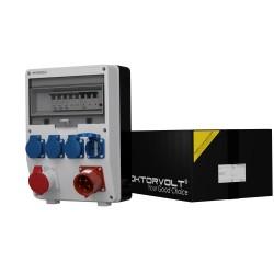 Baustromverteiler TD-S/FI 1x16A  4x230V mit 32A Einbaustecker Doktorvolt 2534