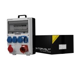 Stromverteiler TD-S/FI 1x16A  4x230V mit 32A Einbaustecker & Griff