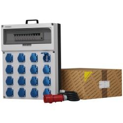 Stromverteiler GR-S/FI 16x230V Schuko Stecker Kabel 5x4mm2