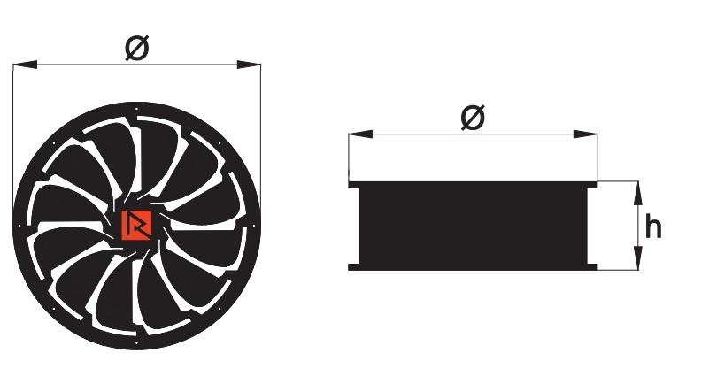 Wentylator osiowy w kwadratowej obudowie
